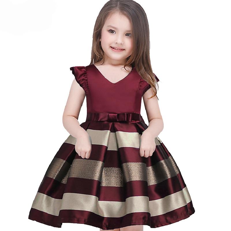 2018 New Girls Bow Striped Formal Gown Ball Party Princess Dress Baby Kids Christmas V-neck Wedding Dresses Children Clothing стоимость