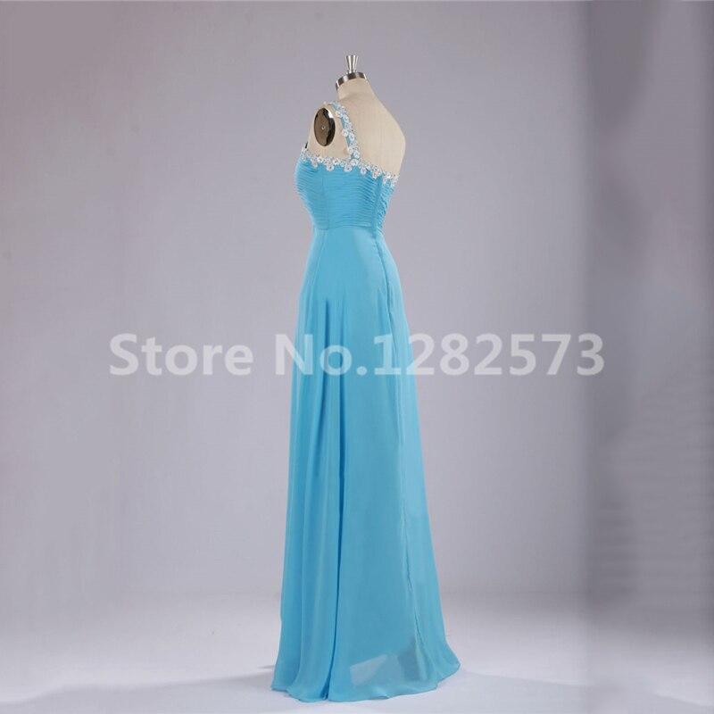 62debad081fdc6 Eine Schulter Brautjungfer Kleider Hellblau Chiffon Pailletten Beade Mädchen  Kleid für Hochzeit Lange Formale Kleider Frauen Kleid in Eine Schulter ...