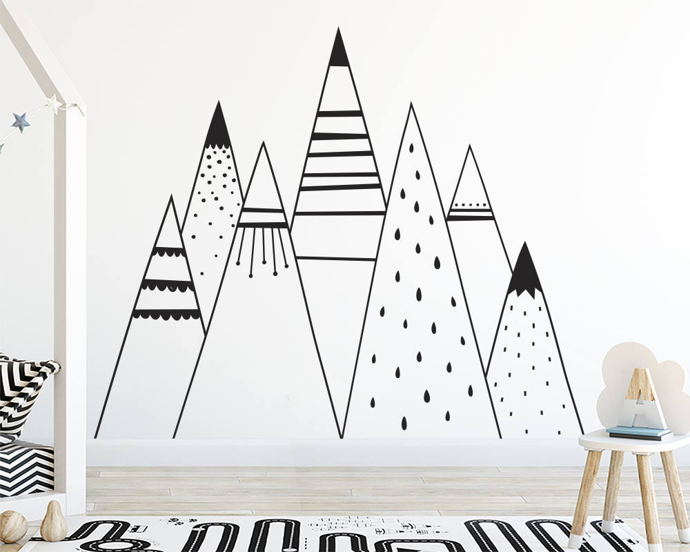 Vinyl tribal mountain wall stickers decor for kids room - Childrens bedroom wall stickers removable ...