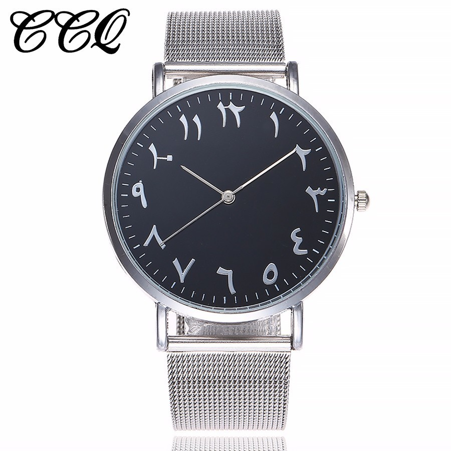 CCQ Brand Stainless Steel Silver Mesh Watch Unique Arabic Numbers Watches Casual Women Men Quartz Wristwatches Relogio Feminino