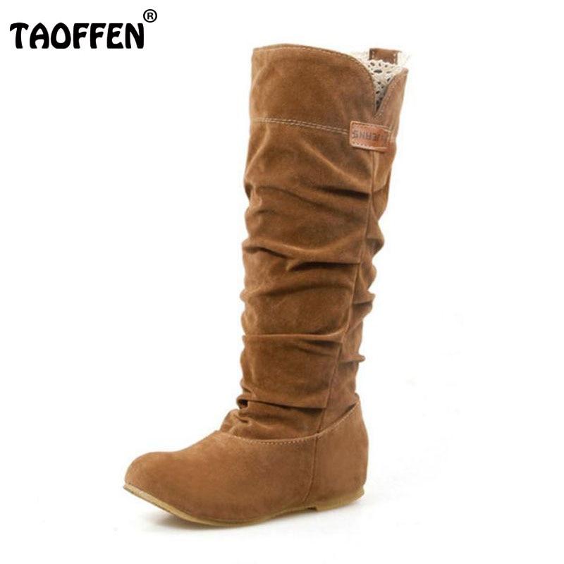 TAOFFEN Taille 34-46 Femmes Plat Demi Bottes D'hiver Botte de Neige De Mode Qualité Chaussures Chaud Botas Feminina Chaussures P2394