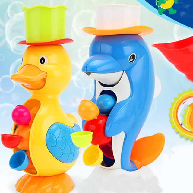 2017 Nuevo Estilo de Baño Ducha de Bebé Juguetes Pato Lindo Dolphin animales Juguetes de Baño Grifo de la Ducha de Pulverización de Agua Herramienta Juguete Escarceos XZ07