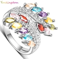 Yunkingdom shiny leaf design rings for women gold plated aneis bijouterie big ring female gifts ALP0793