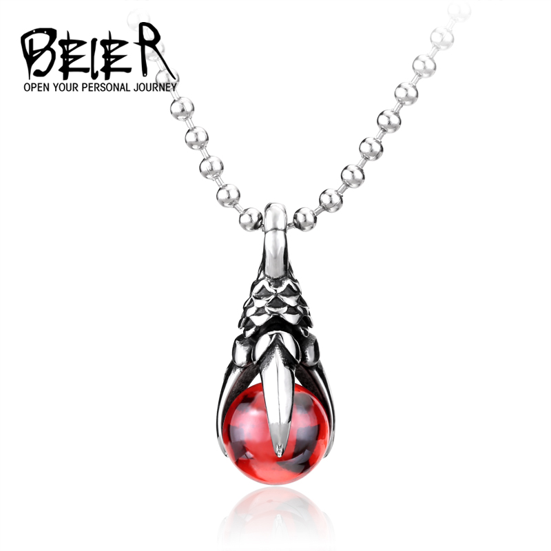 2017 New Dragon Ball Stainless Steel Vintage Necklace Pendant With Stone BP8-077 vintage ivory decorated carving stainless steel pendant necklace