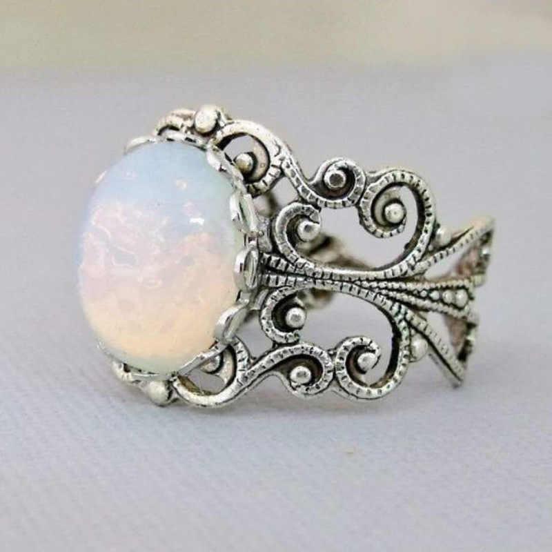Retro Hollow สีขาวแหวนโอปอลหินเปิดแหวนเงินสำหรับผู้ชายผู้หญิง