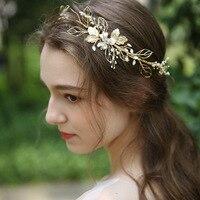 Jonnafe Beaded Pearls Bridal Crown Gold Leaf Tiara Women Headpiece Handmade Wedding Hair Accessories Hairband