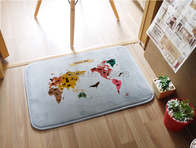 Free Ship 2015 Home Decoration Personalized Doormats Bedroom Cushion  Classic World Map Carpets Bathroom Rugs Wholesale ...
