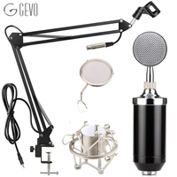 GEVO BM 8000 Condenser Microphone Studio Recording Wired Pc Computer Mic With NB 35 Suspension Arm Pop Filter And Shock Mount