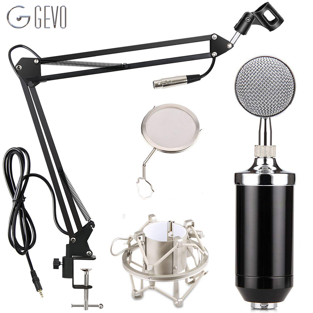 GEVO <font><b>BM</b></font> 8000 Condenser Microphone Studio Recording Wired Pc Computer Mic With NB-<font><b>35</b></font> Suspension Arm Pop Filter And Shock Mount image