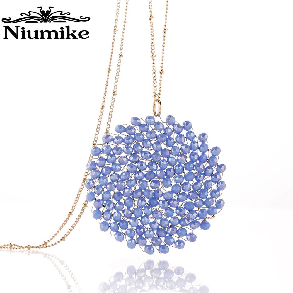 Niumike נשים קריסטל שרשרת עם מעגל תליון שזיף בעבודת יד ארוך שרשראות אריזת מתנה חבילה