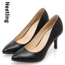 Новые 2017 Весы острым носом ПР женщины насосы Натуральная кожа шпильках женщины высокие каблуки обувь девушку Размер 34-41