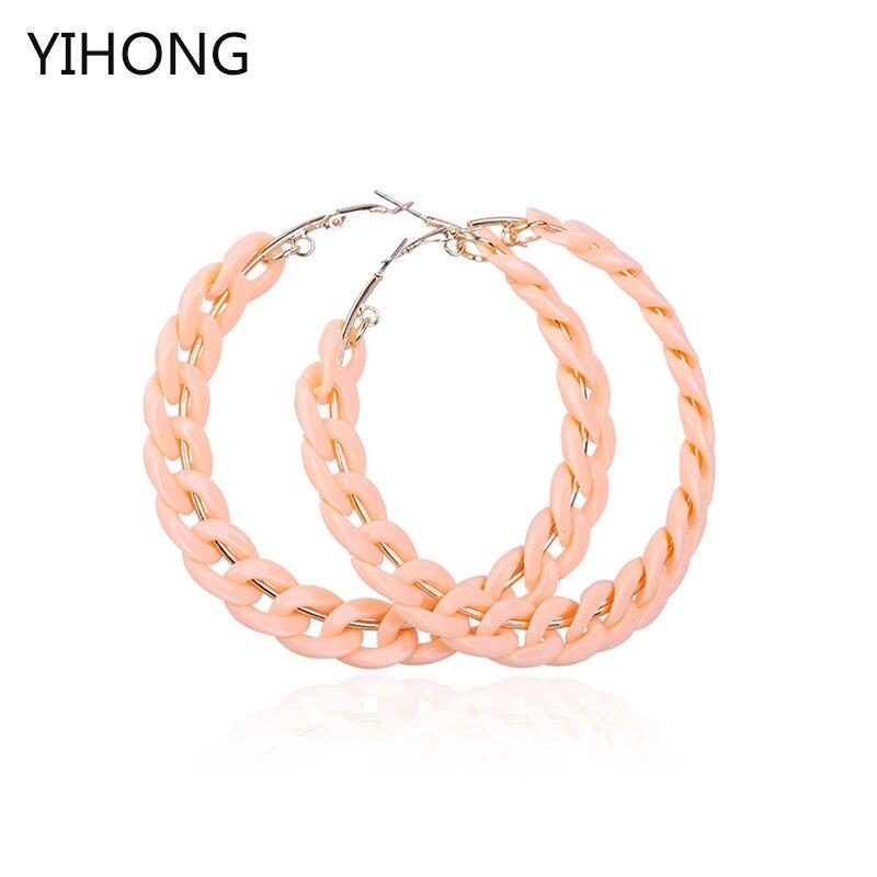 Wholesale Hoop Earrings Big Circle Earrings Basketball Brincos Party Loop CCB Earrings for Women UV Jewelry 80MM