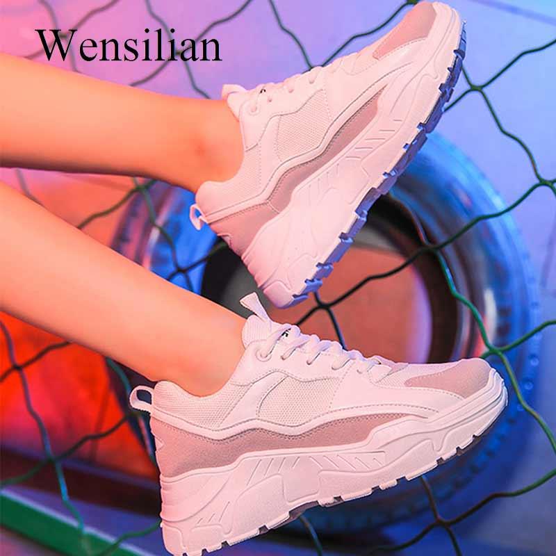 Mode femmes plate-forme baskets blanc Chunky baskets semelle épaisse vulcaniser papa chaussures dames chaussures décontractées noir Zapatos De Mujer