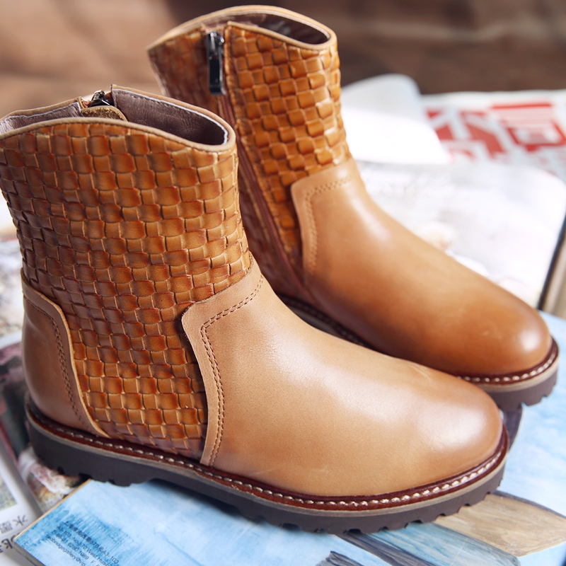 Winter Womens Casual Boots Online Genuine Leather Ankle Boots Fashion Brown Handmade Martin Boots Plaid Pattern