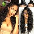 8A Brasileña Del Frente Del Cordón Del Pelo Humano Peluca Del Cordón Humano de la Onda Profunda Rizada Armadura Profunda Rizado Pelucas Pelucas de pelo Con El Pelo Del Bebé Para Las Mujeres Negras