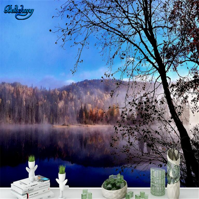 beibehang Customized non-woven wallpaper mural European-style beautiful lakeside virgin forest lounge background wall
