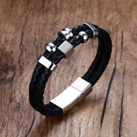 Mens Vintage Leather Bracelets Double Wrap Braided Rope With Stainless Steel Clasp Wristband Bangle Black Brown