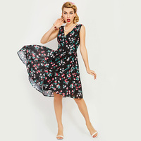 Women Dress Summer 2017 Retro Black Print Knee Length 1950s Vintage Tank Dress Sexy Female V