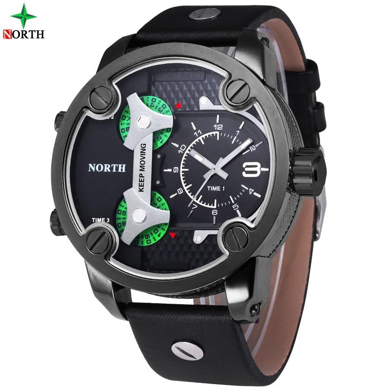 ФОТО 2017 NORTH Men's Sport Watches Waterproof Leather Quartz Watch Man Three Time Zone Relogio Masculino Military Sport Watches Men