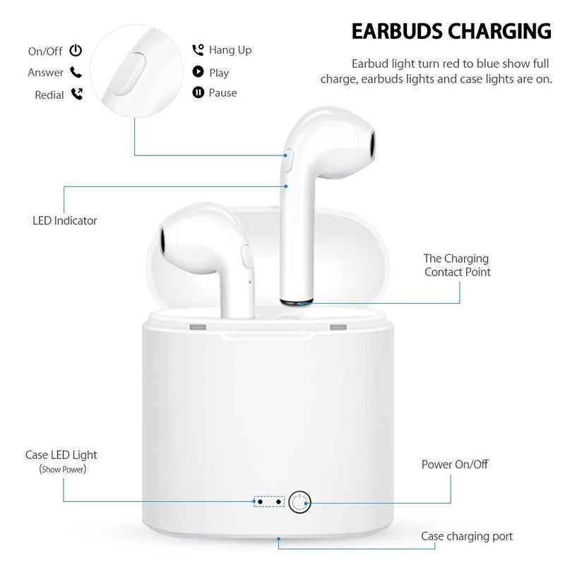 Oryginalne słuchawki bezprzewodowe i7s TWS Mini słuchawki stereo Bluetooth słuchawka do iphone'a XiaoMi wszystkie smartfony z etui z funkcją ładowania