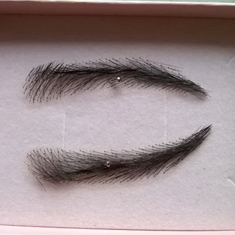 A pair of Hand Made Human Hair Eyebrow Fake Eyebrow 003 Light Brown Color Handmade Swiss Lace Invisible Reality Eyebrow eb013 invisible swiss lace relastic hand made human hair false eyebrow dark brown 2 color