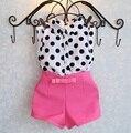Новое лето девушки одежда наборы девушка детская одежда в горошек пальто + розовый брюки одежда для новорожденных