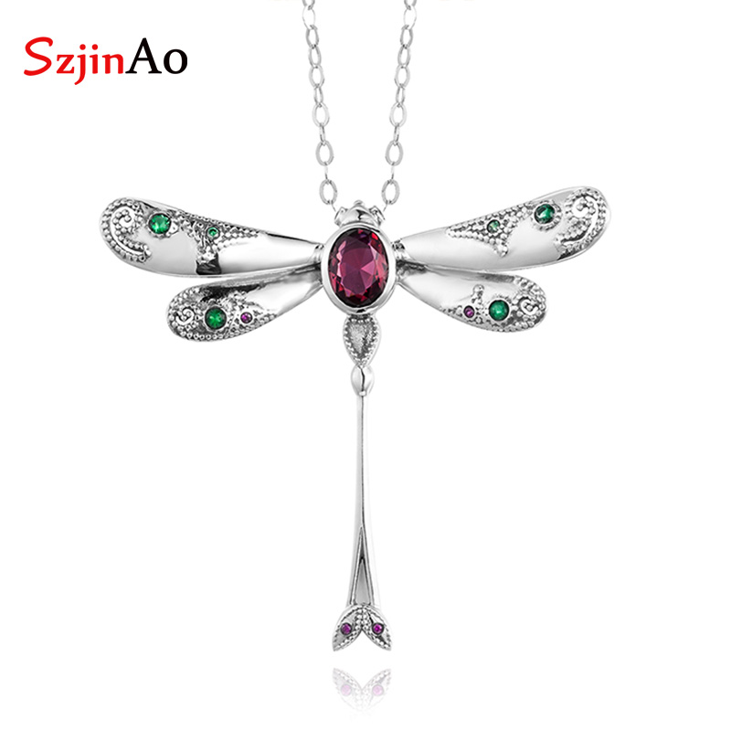 SzjinAo Unique Create Ruby Dragonfly Pendant Solid 925 Sterling Silver March Birthstone Pendants for Women Fine Jewelry