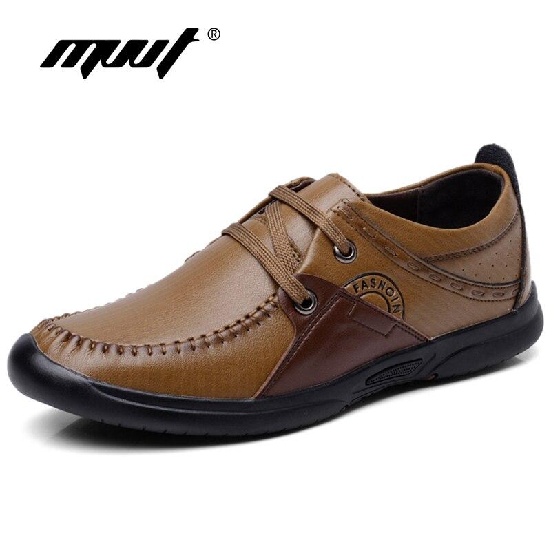 MVVT Musim Gugur Baru Kulit Asli Sepatu Kasual Pria Mode Patchwork Pria Flat Penjualan Sepatu Kaki Memakai