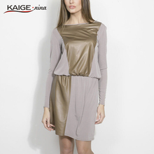 Kaige.Nina New Women's Vestidos Casual Patchwork Style Long Sleeves O-Neck No Adornment Straight Knee-length Summer Dress 1613