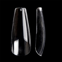 Gel Coffin Nail Art Ballerina Style Straight Side Transparent Natural Bend Full Cover Fingernail Manicure