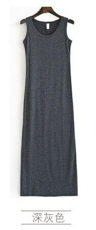 Новое поступление, весенне-летнее однотонное хлопковое повседневное длинное платье без рукавов, женское приталенное платье в пол с круглым вырезом, женское платье-жилет - Цвет: dark gray
