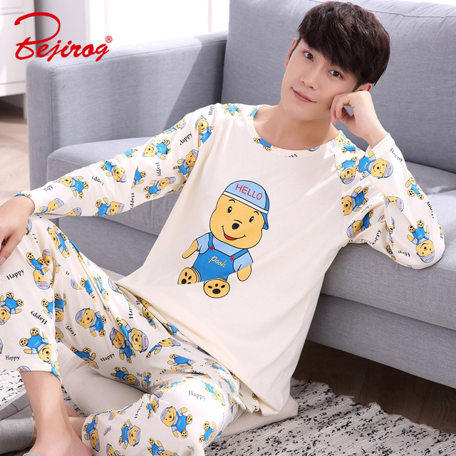 Bejirog men pajamas set cotton sleepwear long sleeved nighties bear print  sleep clothing plus size pyjamas male nightwear autumn ac326dda8