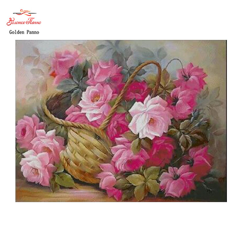 Golden panno,Needlework,Embroidery,DIY Floral Painting,Cross stitch,kits,14ct Basket home Cross-stitch,Sets For Embroidery