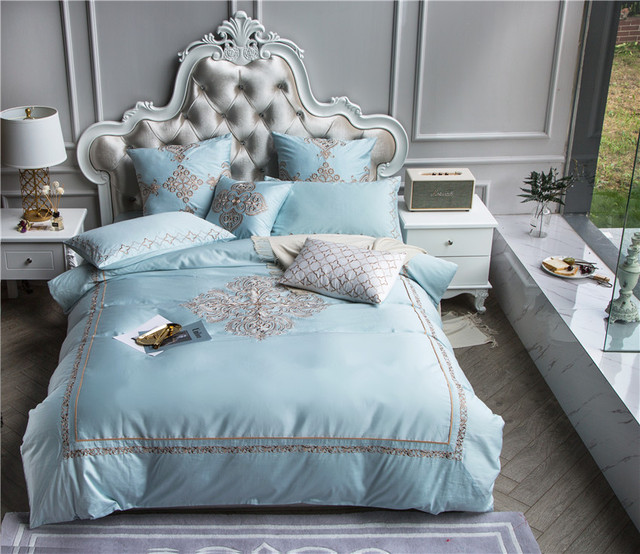 4 7pcs queen king size luxury egyptian cotton bedding sets