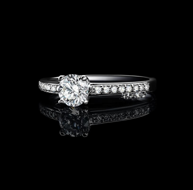 0.5 carat 925 sterling silver SONA female ring Ring female diamond wedding ring (XJ)