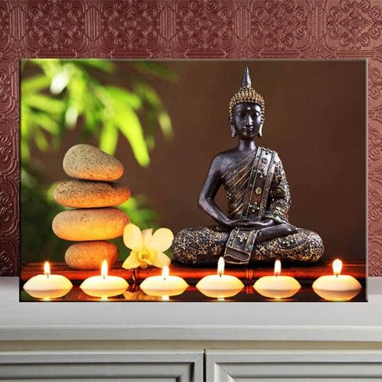 Boeddha Met Led Verlichting.Us 14 8 6 Led Verlichting Muur Canvas Schilderijen Light Up Gespannen En Ingelijst Art Werk Gratis Verzending Canvas Afdrukken Boeddha Home Decor