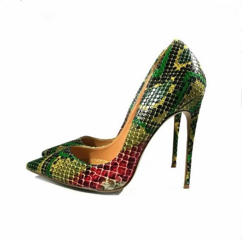Dedo Vestido Verde Punta on Bombas Mujer Estilete Sexy Del Tacón Pie Slip Zapatos amarillo As Primavera Picture Celebrity Serpiente OdxIqYO0w