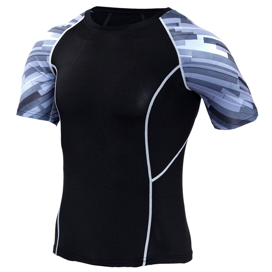 cdb23c1d37 ... ZYMFOX Compression Shirts Men Compression Shirts Tights Fitness T shirt  Summer Male T-shirt Tights ...