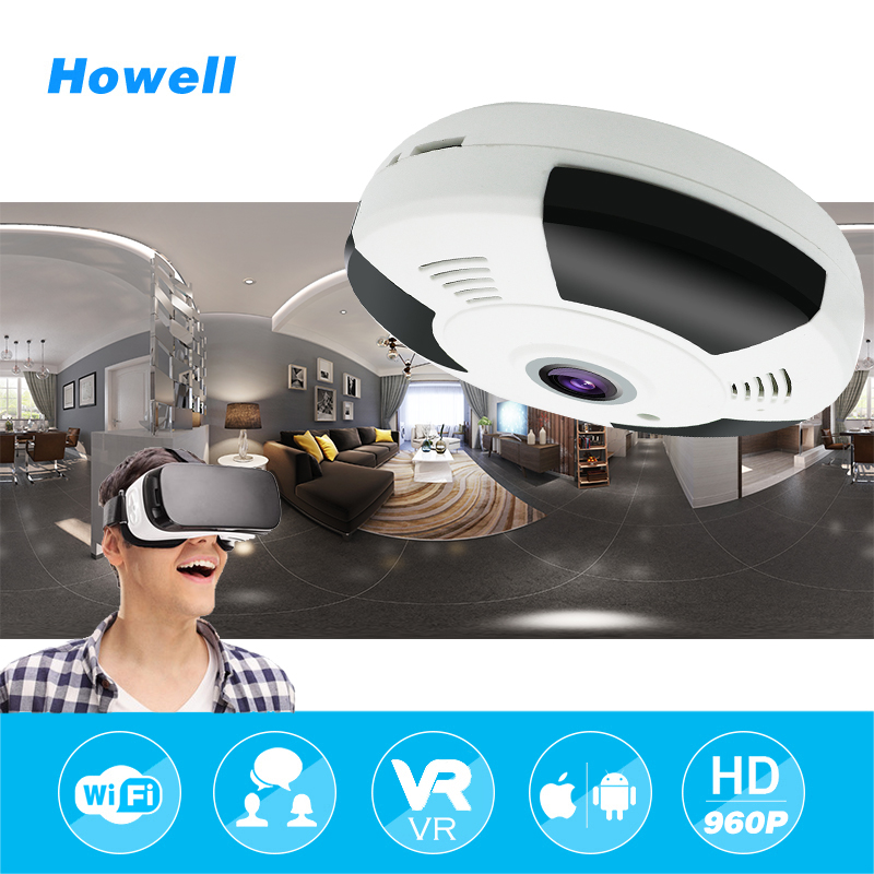 Howell 360 Degree Panoramic Camera IP 960P 1.3MP Home Security IP Camera Wifi Two Way Audio WebCam 1.44mm Fisheye Lens HD Camera home ip wifi camera hd 5mp two way audio activity alert yunsye smart ip wifi webcam 360 degree panoramic camera ir cut