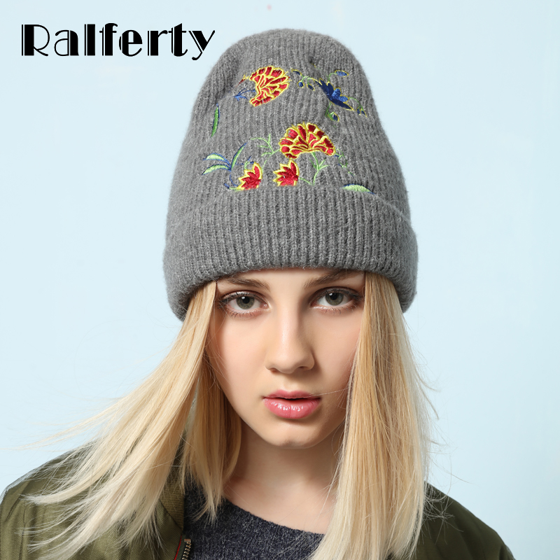 Ralferty Stylish Women Winter Hat Cap Knitted Hats For Women Casual Embroidery   Skullies     Beanies   Female Floral Bonnet Bonet
