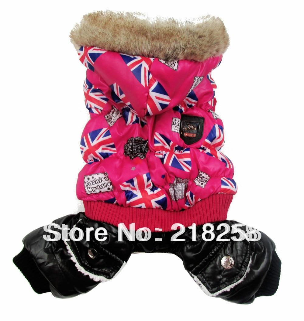 Maloobchodní červená vlajka UK Tisk Pet psi Zimní srst Loď nové oblečení pro psa