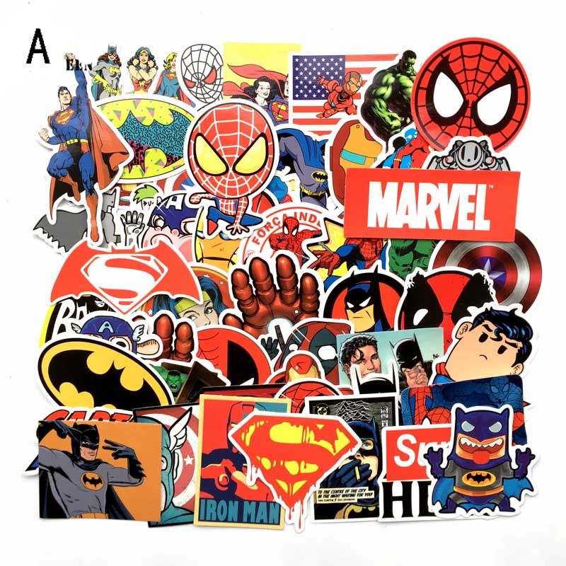 50PCS Hero Stickers Pack Movies Character Sticker For DIY Skateboard Motorcycle Luggage Laptop Cartoon Sticker