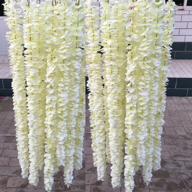 1 Meter Long Elegant Handing Orchid Silk Flower Vine White Wisteria Garland Ornament For Festival Wedding
