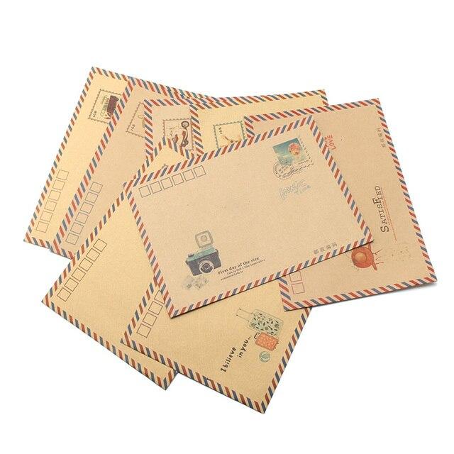 Kicute 8pcs Set Vintage Design Kraft Paper Envelope Diy Crafts