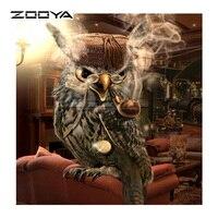 ZOOYA Diamond Embroidery 5D DIY Diamond Painting Gray Owl Smoke Bag Pipe Diamond Painting Cross Stitch