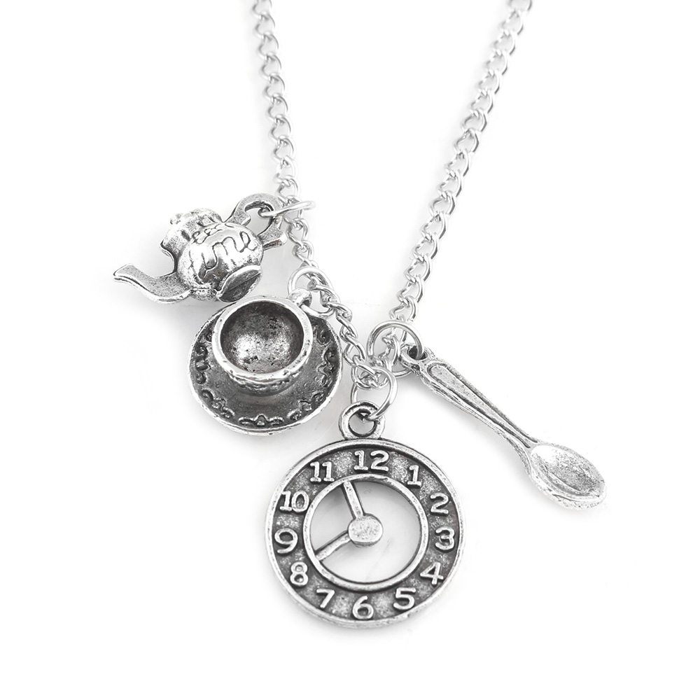 Movie Jewelry Alice in Wonderland Necklaces Tea set coffee cup spoon teapot Magic Clock Pendants Girl woman Necklace