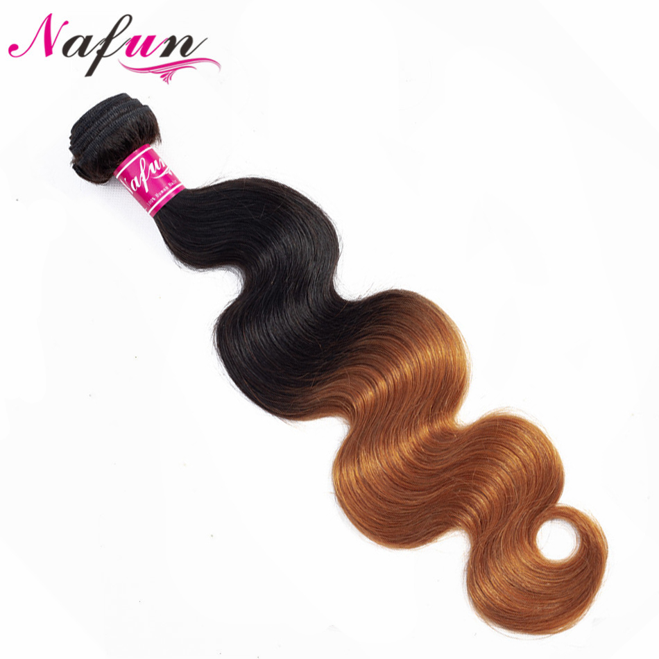NAFUN Hair Pre-Colored Brazilian Hair Body Wave 1 Bundle T1B/30 Ombre Human Hair Weave Bundles Non Remy Extensions 10-28 Inch