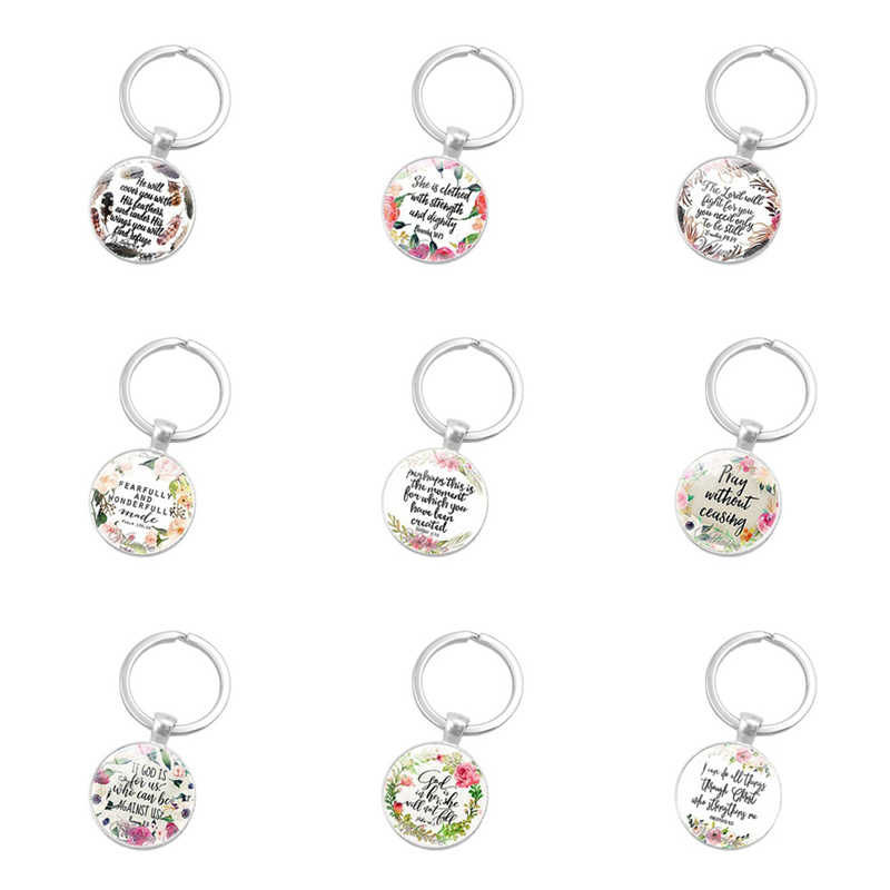Bible Verse Keychain God Is In Her She Will Not Fall