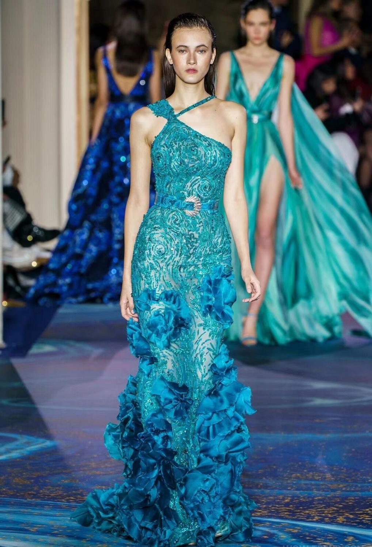 Robe de piste femmes Sexy Designer paillettes bleu queue de poisson Maxi robe 2019 maille Floral longue robe de soirée