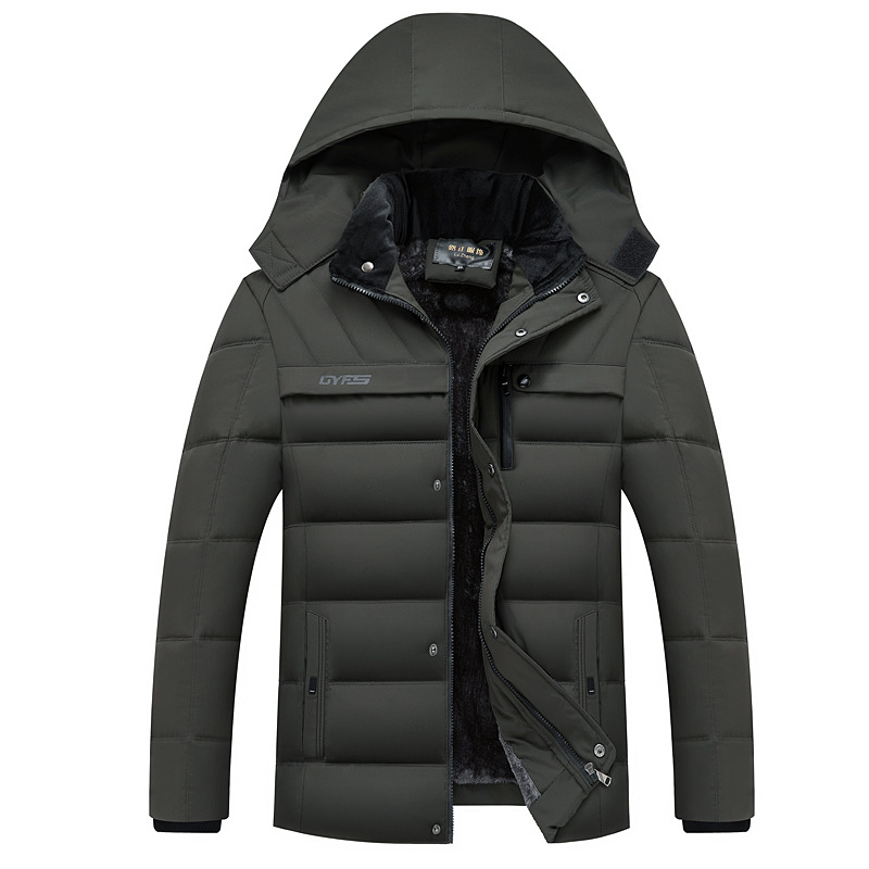 Thick Warm Winter Jacket Men Parka Hooded Business Casual Solid Winter Coat Man Outwear